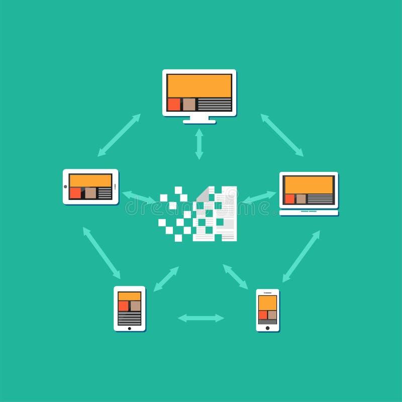 Arquivos ou originais que transferem entre se Distribuição do original Ilustração do conceito da partilha de arquivos ilustração stock