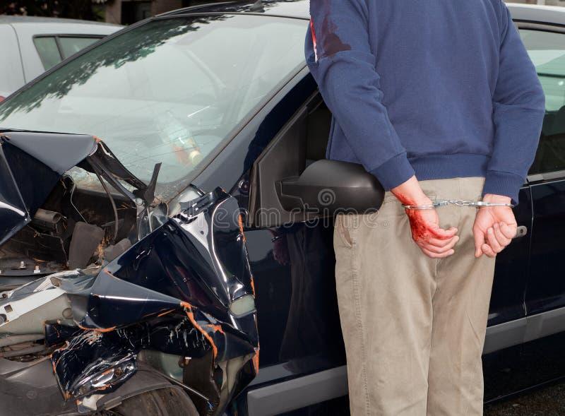 Arrêté après crash de véhicule images stock