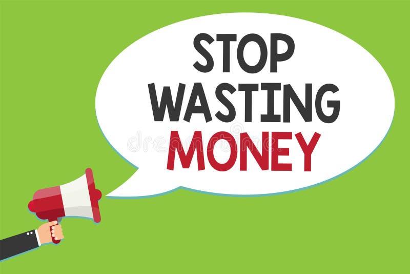 Arrêt conceptuel d'apparence d'écriture de main gaspillant l'argent Le programme de organisation de gestion des textes de photo d illustration stock