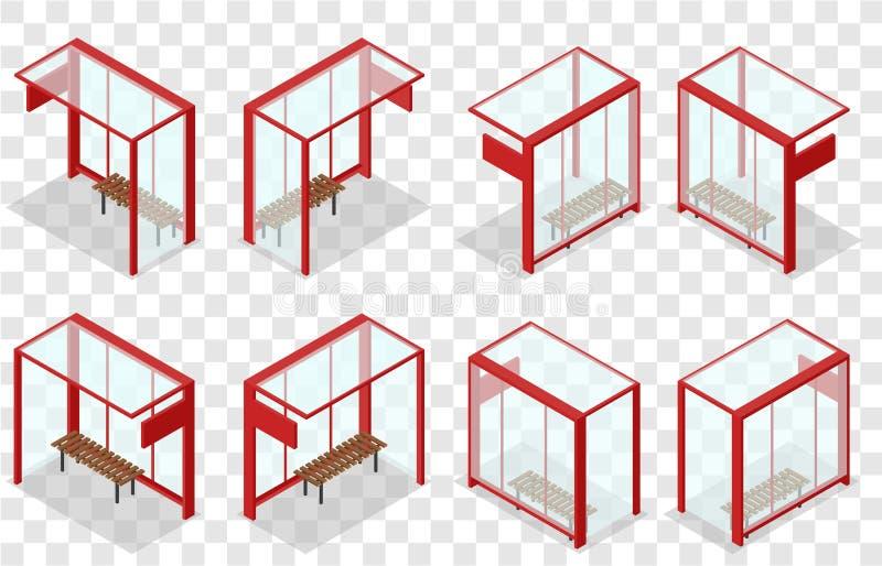 Arrêt d'autobus en verre rouge Arrêt isométrique illustration stock