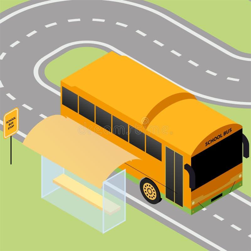 Arrêt d'autobus scolaire isométrique illustration stock