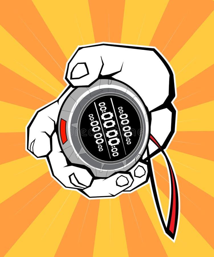 Arrêt de minuterie de chronomètre de main photo stock