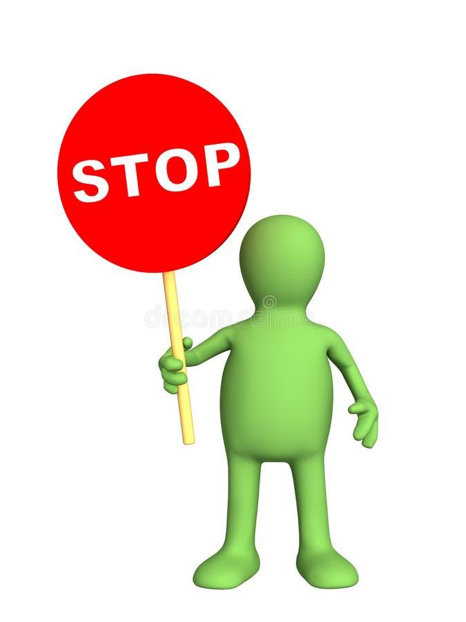 arrêt de signe de marionnette de personne de fixation de la main 3d illustration libre de droits