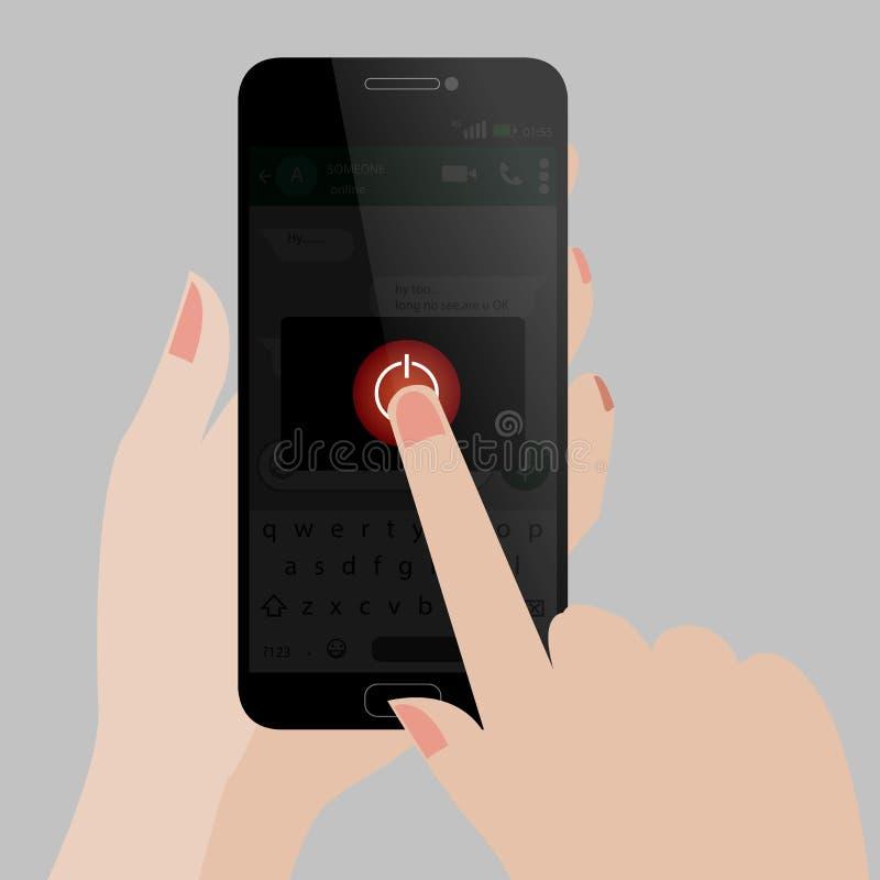Arrêt de téléphone portable - éteignez - touchez  illustration de vecteur