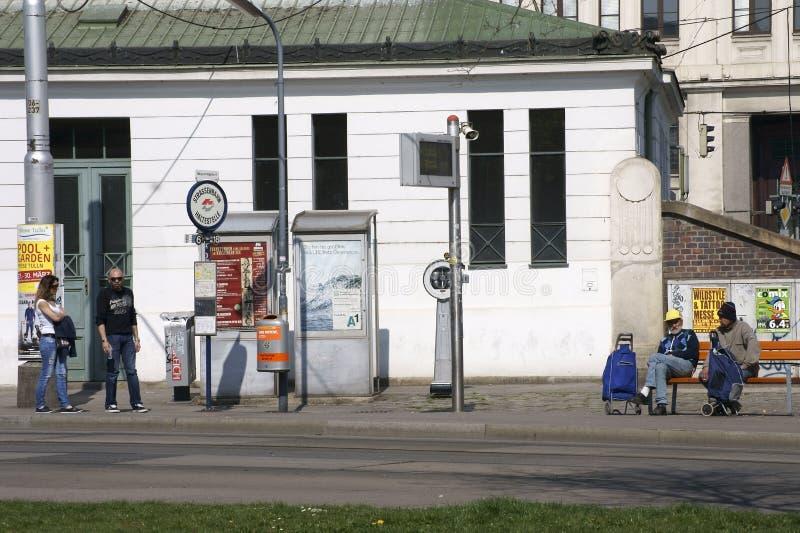 Arrêt de tram à Vienne images libres de droits