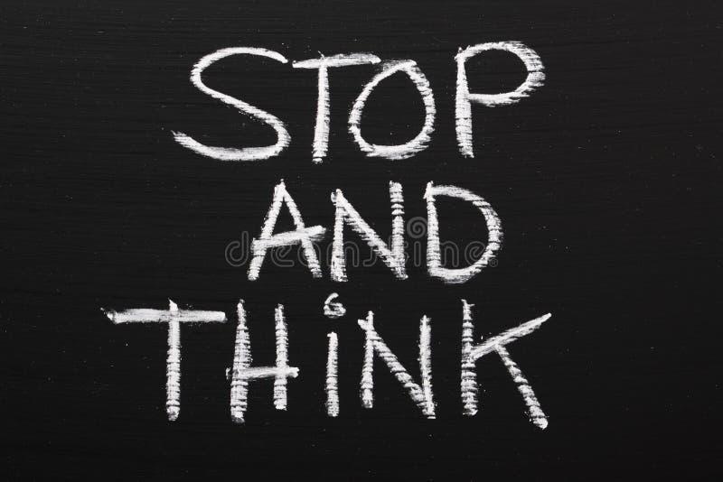 Arrêtez et pensez image libre de droits