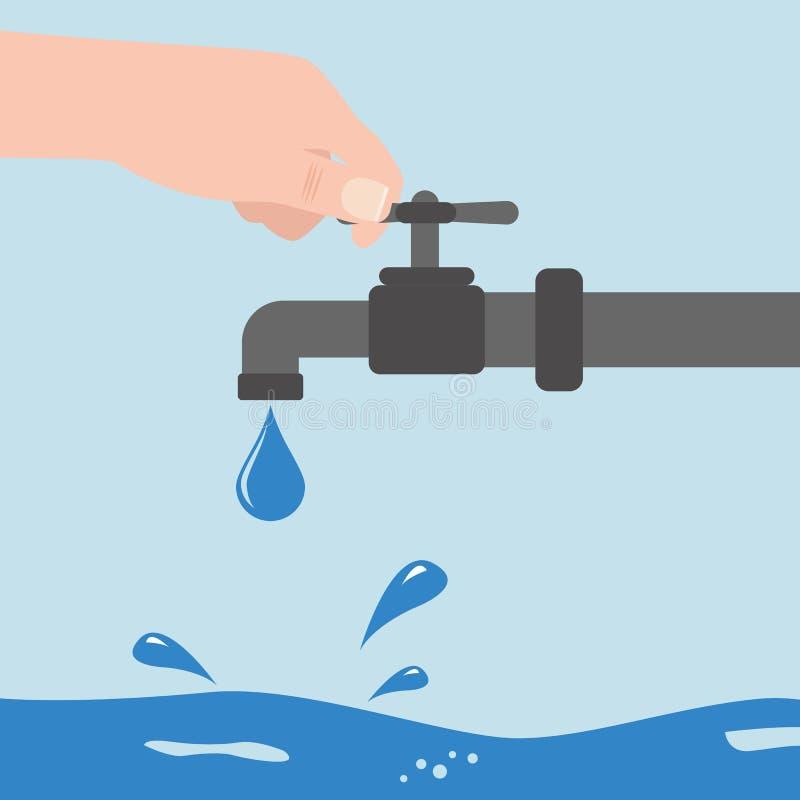Arrêtez l'eau avec la main de l'homme s d'isolement sur le fond Illustration plate de vecteur illustration stock