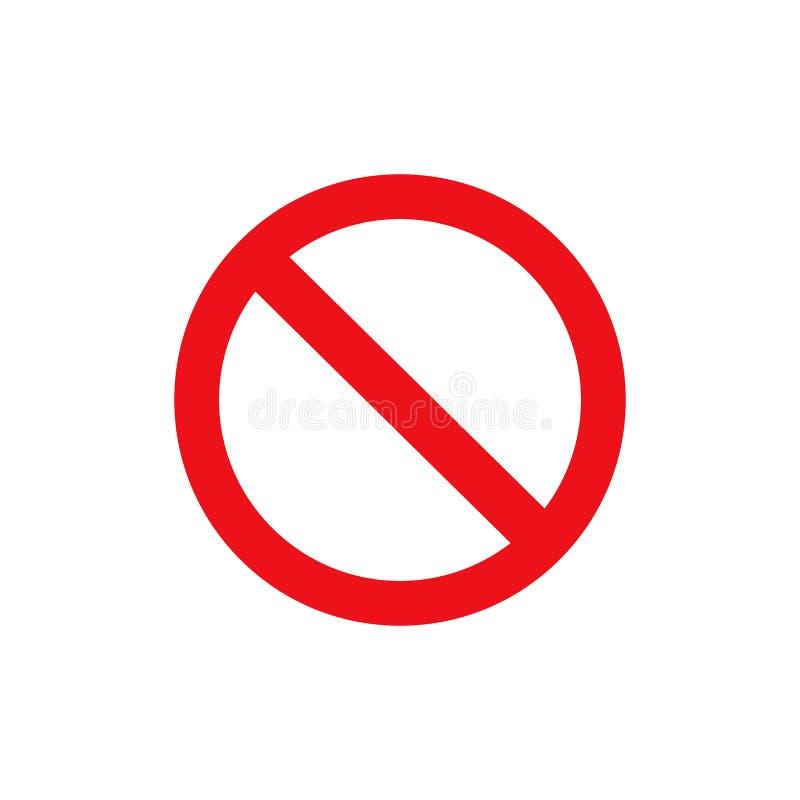 Arrêtez l'icône de rouge de vecteur de signe Avertissement ou aucun cercle et ligne interdits par entrée symbole de vecteur d'iso images libres de droits