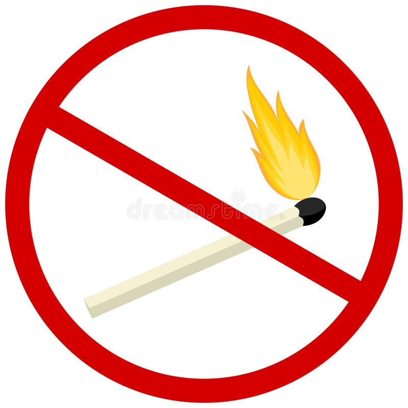 Arrêtez l'icône du feu Symbole de flamme nue d'interdiction illustration libre de droits