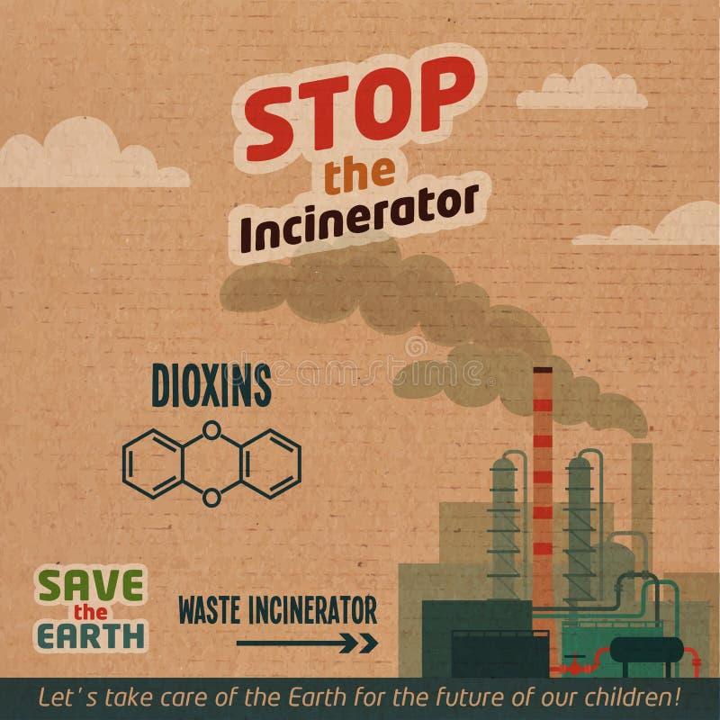 Arrêtez l'illustration de carton d'incinérateur illustration libre de droits