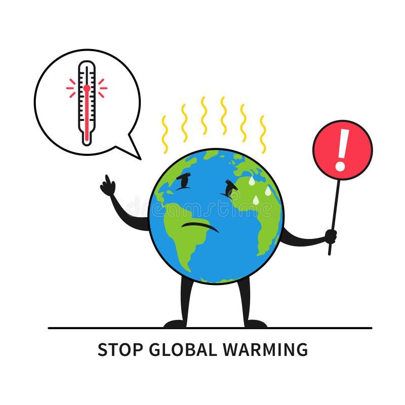 Arrêtez l'illustration de vecteur de réchauffement global illustration libre de droits