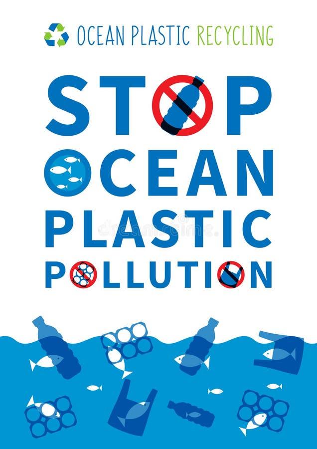 Arrêtez l'illustration en plastique de vecteur de pollution d'océan illustration de vecteur