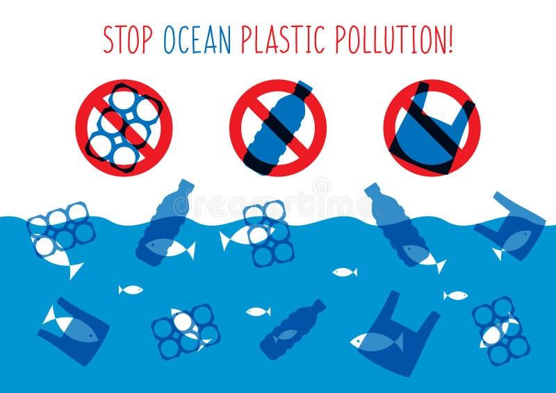 Arrêtez l'illustration en plastique de vecteur de pollution d'océan illustration stock