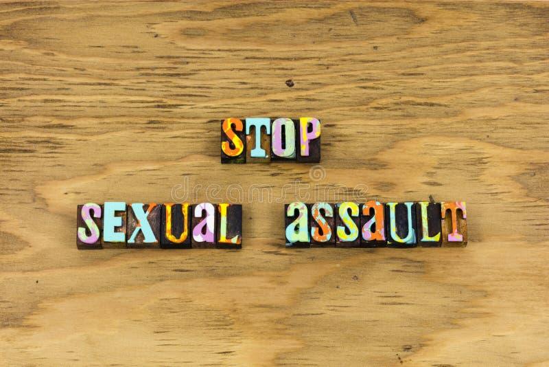 Arrêtez l'impression typographique de respect de viol d'agression sexuelle images libres de droits