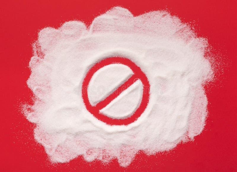Arrêtez l'interdiction se connectent le fond de sucre blanc photo stock