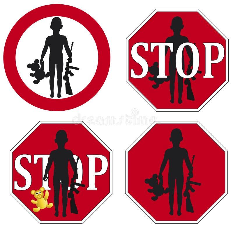 Arrêtez l'utilisation du soldat d'enfant illustration libre de droits