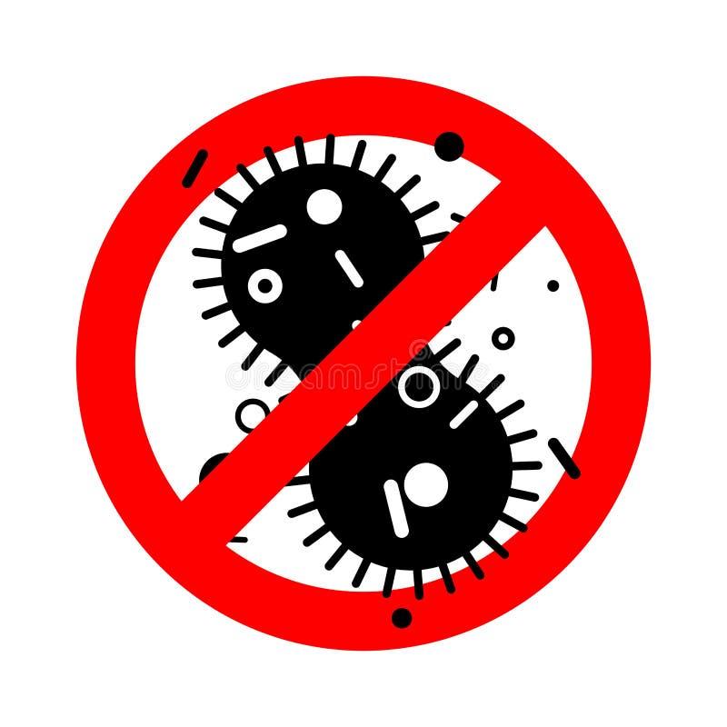 Arrêtez la bactérie de virus Microbe rouge interdit de panneau routier pathogène illustration libre de droits