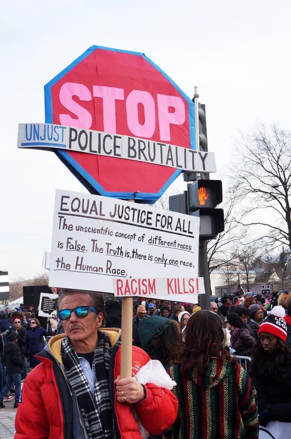 Arrêtez la brutalité de police injuste photos stock