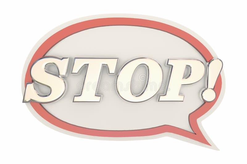 Arrêtez la bulle de la parole de message de halte de fin de Word illustration libre de droits