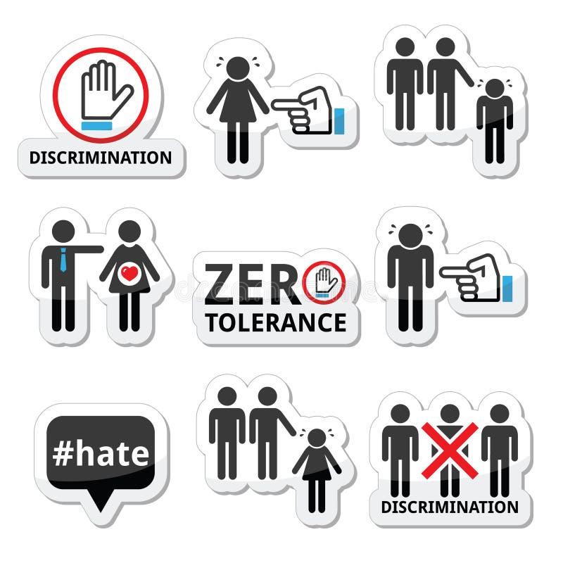 Arrêtez la discrimination des hommes, et des icônes de femmes réglées illustration libre de droits