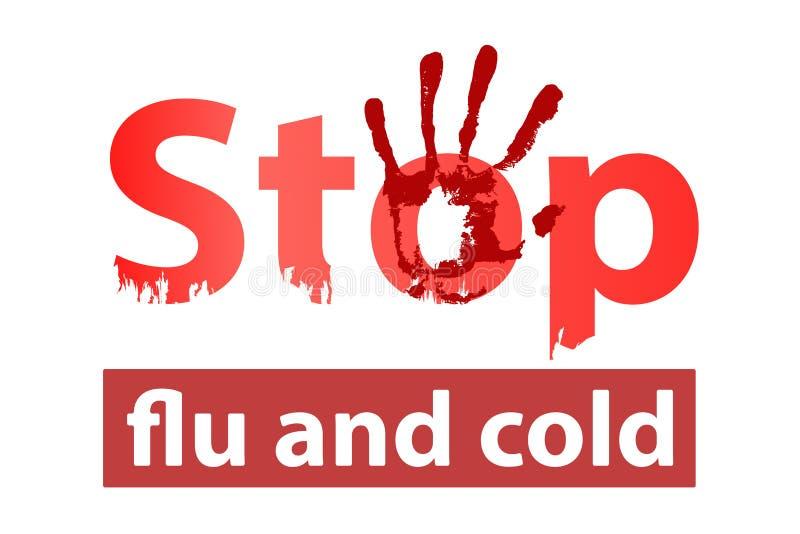 arrêtez la grippe et le concept froid Arrêtez la maladie illustration de vecteur
