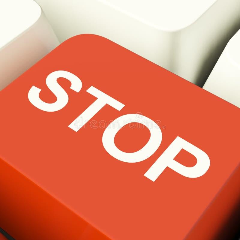 Arrêtez la touche d'ordinateur affichant le démenti illustration libre de droits