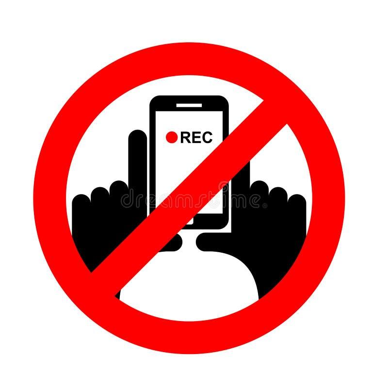 Arrêtez la vidéo verticale On l'interdit d'enregistrer la vidéo illustration de vecteur