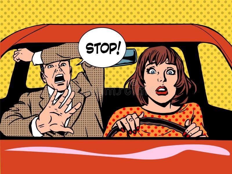 Arrêtez le calme de panique d'auto-école de conducteur de femme illustration libre de droits