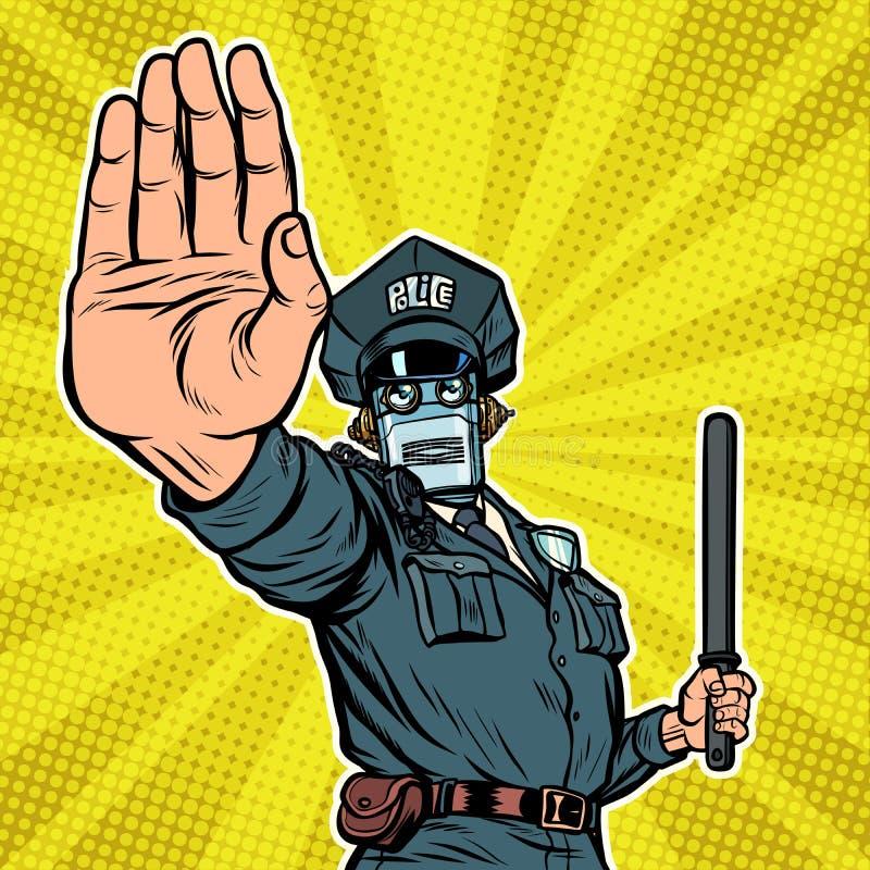 Arrêtez le geste de main Policier de robot illustration de vecteur
