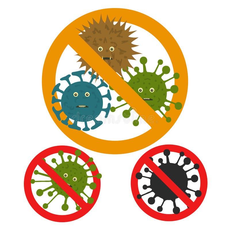 Arrêtez le microbe Virus microscopiques Vecteur illustration de vecteur