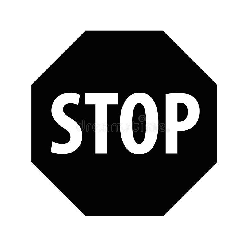 Arrêtez le noir sur un fond blanc images libres de droits