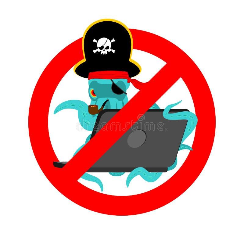 Arrêtez le poulpe et l'ordinateur portable de pirate de Web Hac d'Internet de poulpe de signe d'interdiction illustration de vecteur