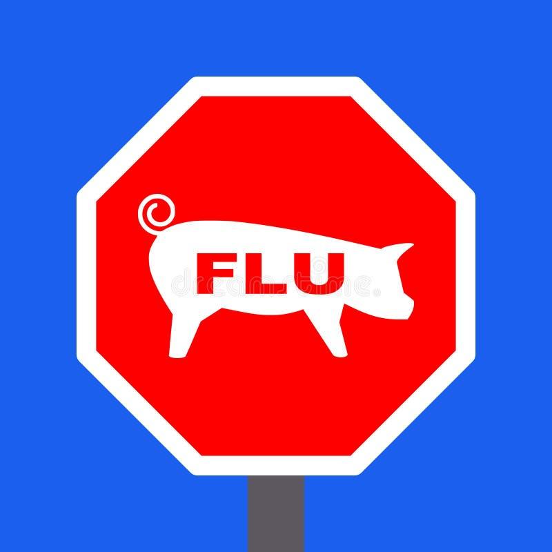 Arrêtez le signe de grippe de porcs illustration libre de droits