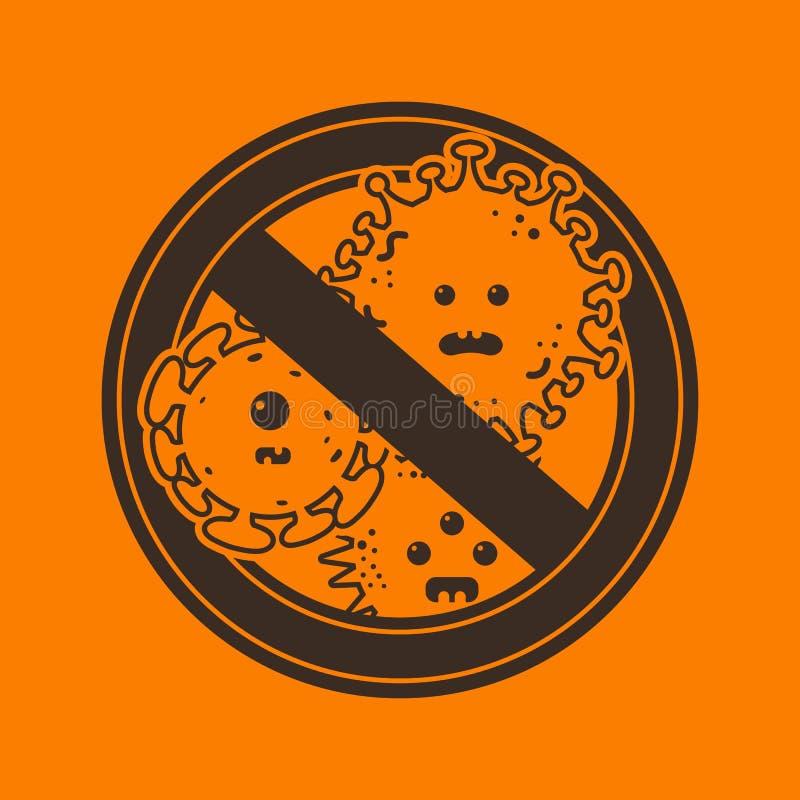 Arrêtez le signe de virus et de microbes illustration libre de droits
