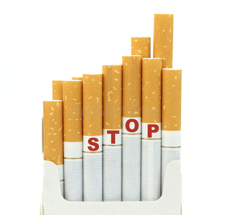 Arrêtez le tabagisme, d'isolement sur le fond blanc photos libres de droits