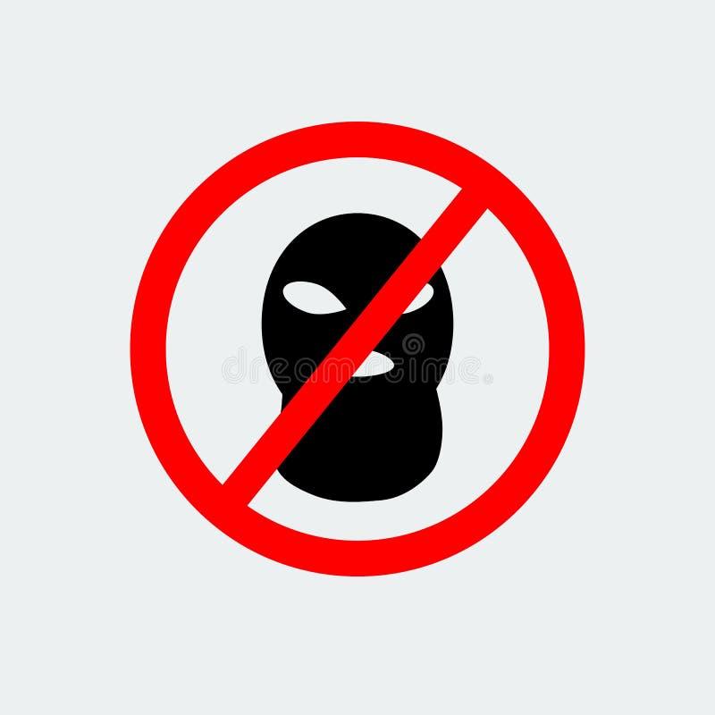Arrêtez le terrorisme avec l'icône de masque de Balaclava de signe Illustration de vecteur illustration stock