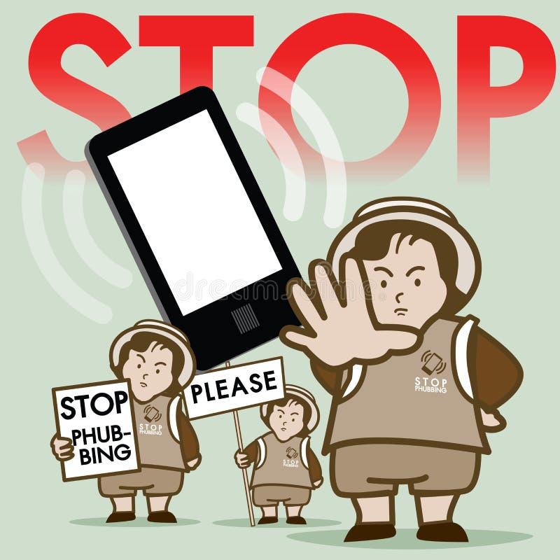 Arrêtez le vecteur de campagne de Phubbing illustration stock