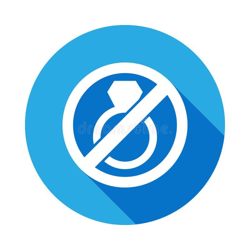 Arrêtez ou interdisez le mariage, icône plate interdite de signe avec la longue ombre illustration de vecteur