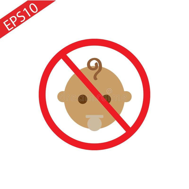 Arrêtez ou interdisez le signe avec l'icône d'enfant d'isolement sur le fond blanc Les enfants sont illustration interdite de vec photo stock