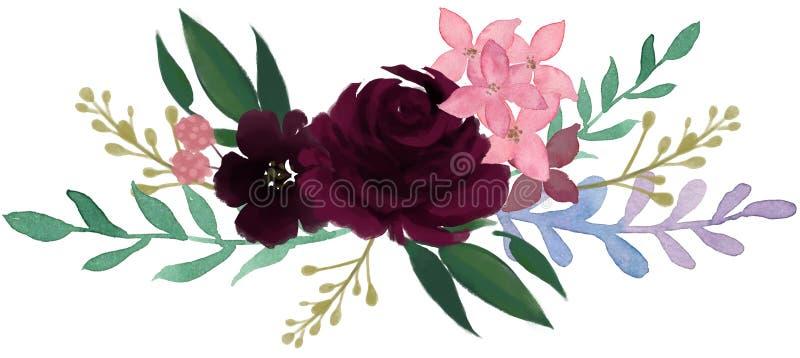 Arr för blomma för abstrakt begrepp för pion för bohemisk tappning för vattenfärgflora rosa royaltyfri illustrationer