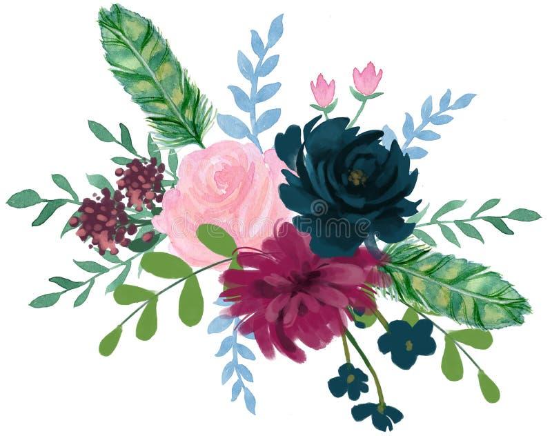 Arr för blomma för abstrakt begrepp för pion för bohemisk tappning för vattenfärgflora rosa vektor illustrationer