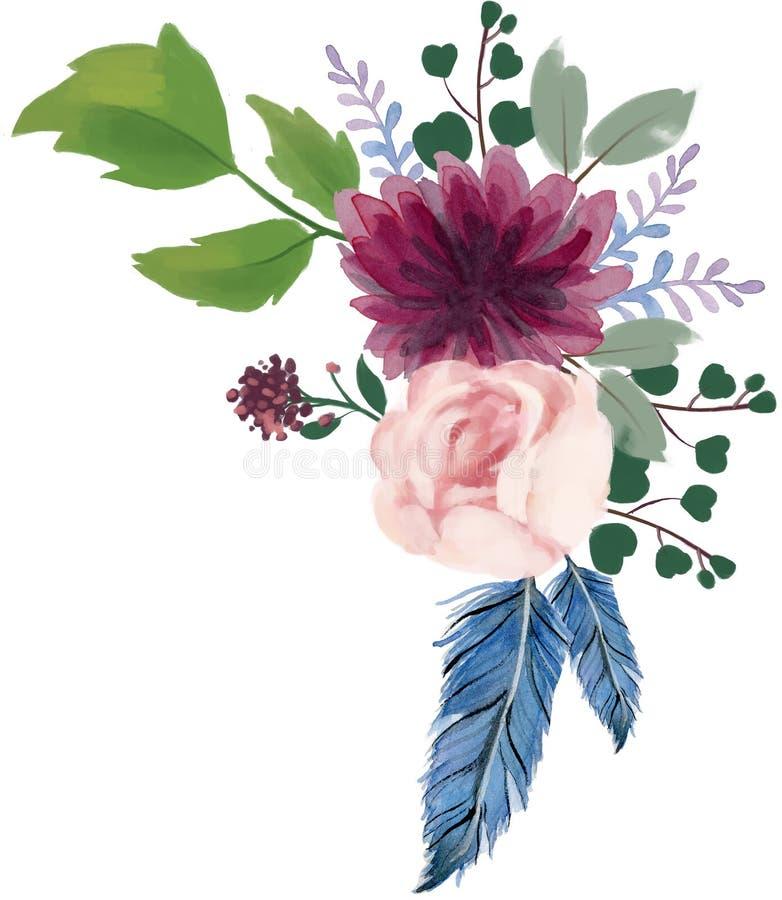 Arr rosa del fiore dell'estratto della peonia dell'annata della Boemia della flora dell'acquerello illustrazione di stock