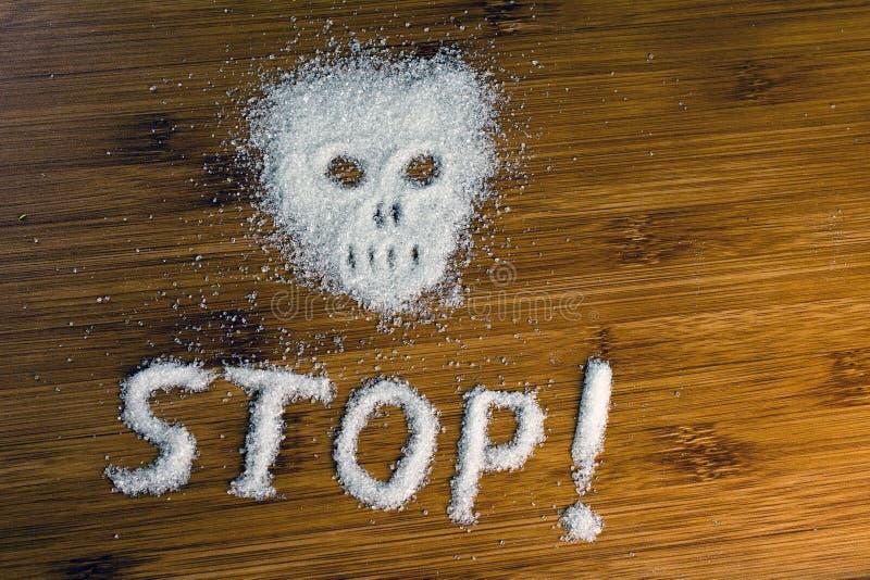 Arr?t d'inscription de cr?ne de sucre sur la table image stock