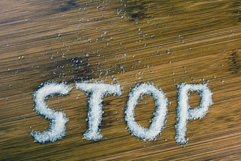 Arr?t d'inscription de sucre sur la table image stock