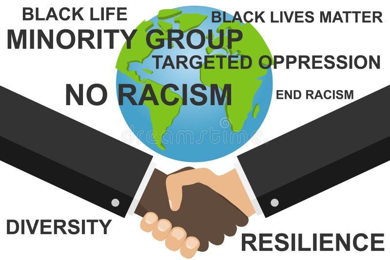 Arr?tez le racisme Prise de contact de deux hommes Bannière pour combattre le racisme et le genre illustration stock
