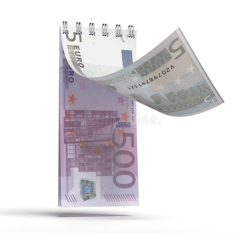 Arrachez le calendrier avec un euro billet de banque illustration libre de droits