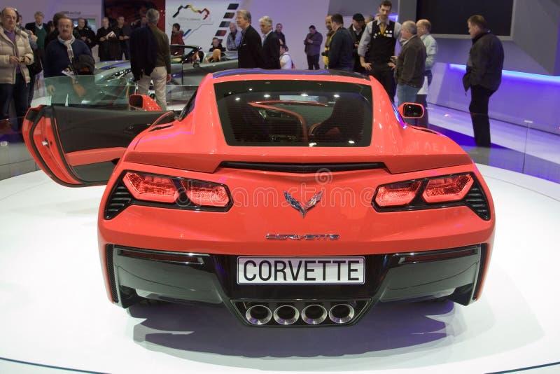 Arraia-lixa 2014 de Corveta C7 - exposição automóvel 2013 de Genebra imagem de stock