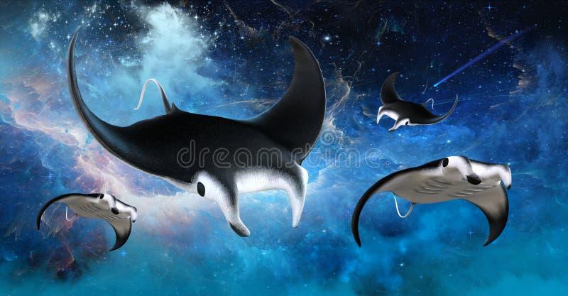 Arraia-lixa do Manta do espaço do voo ilustração royalty free