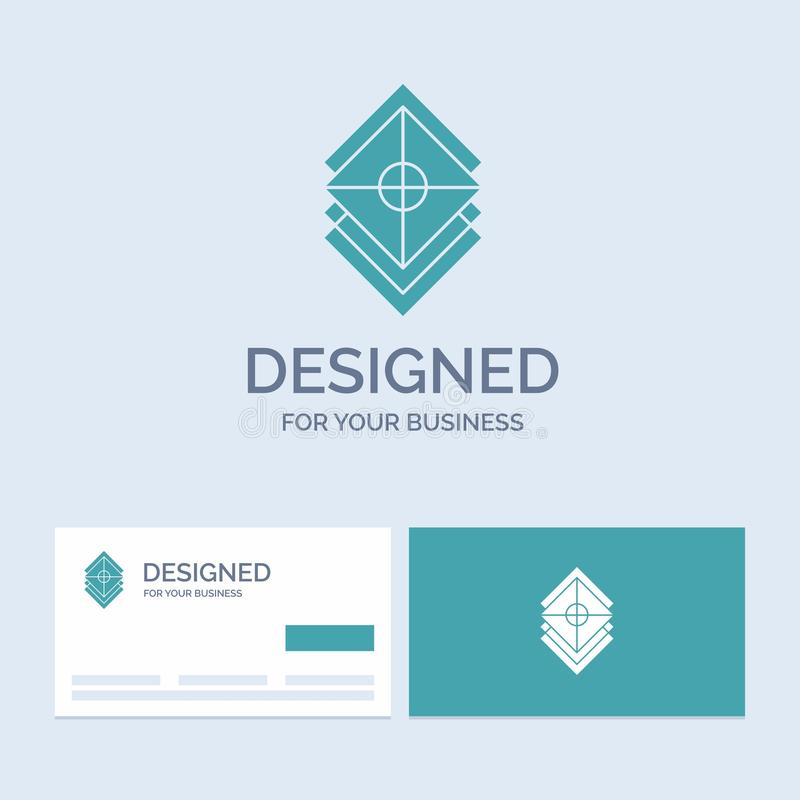 Arrange, design, layers, stack, layer Business Logo Glyph Icon Symbol for your business. Turquoise Business Cards with Brand logo vector illustration