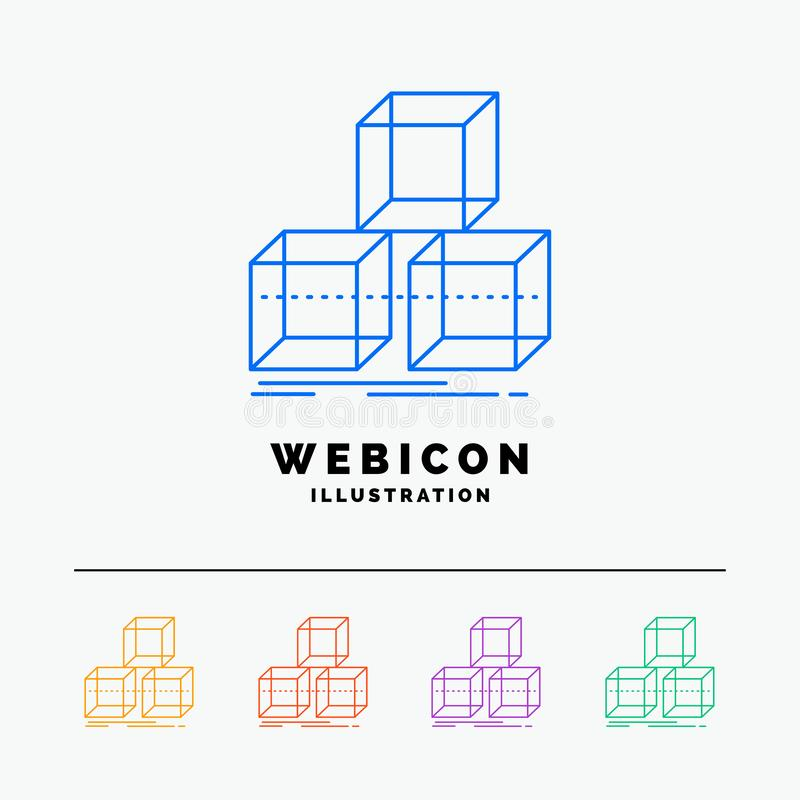 Arrange, design, stack, 3d, box 5 Color Line Web Icon Template isolated on white. Vector illustration. Vector EPS10 Abstract Template background vector illustration